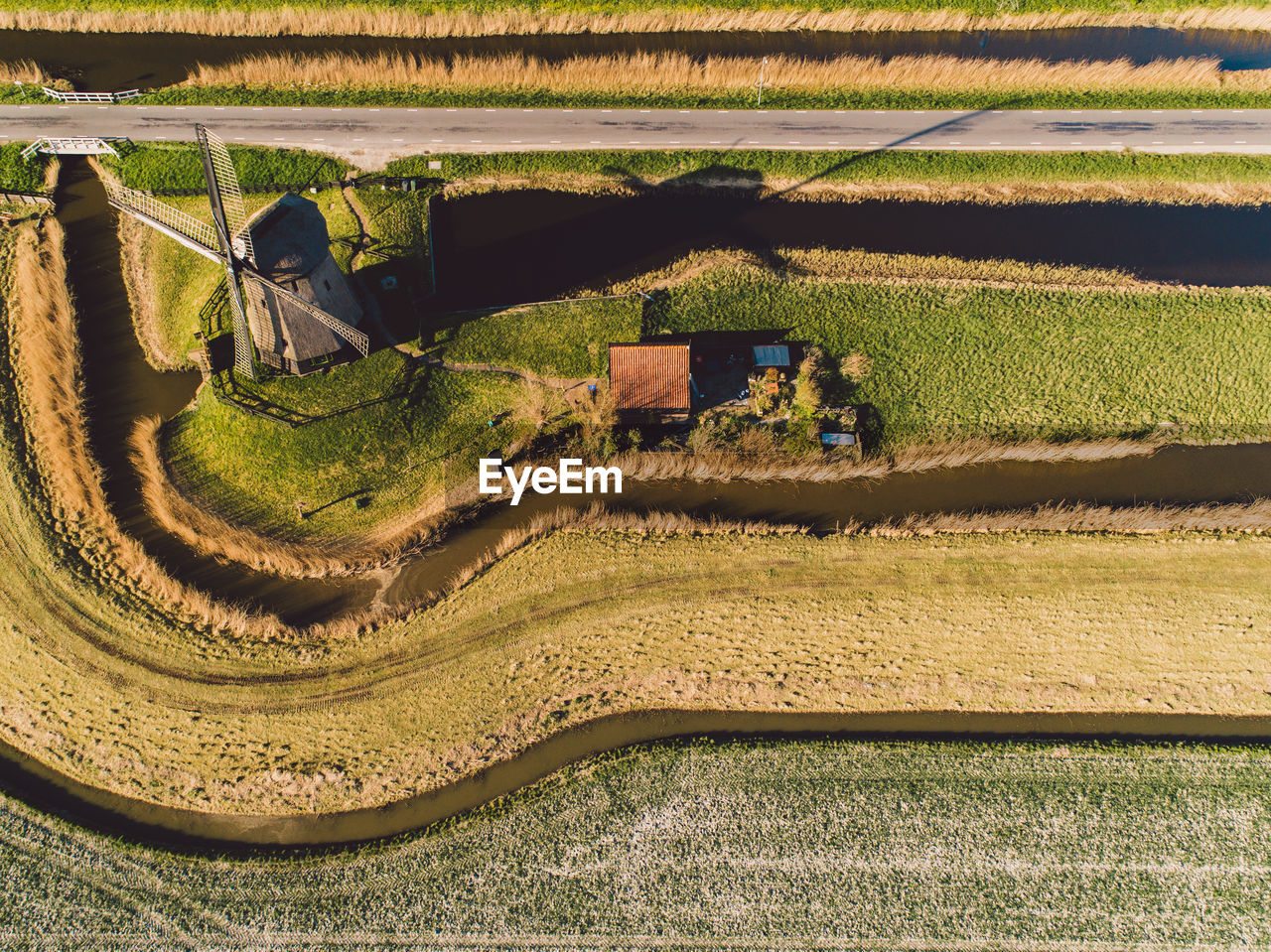 HIGH ANGLE VIEW OF AGRICULTURAL FARM