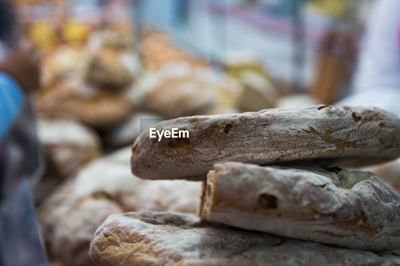 Close-Up Of Stack Of Bread