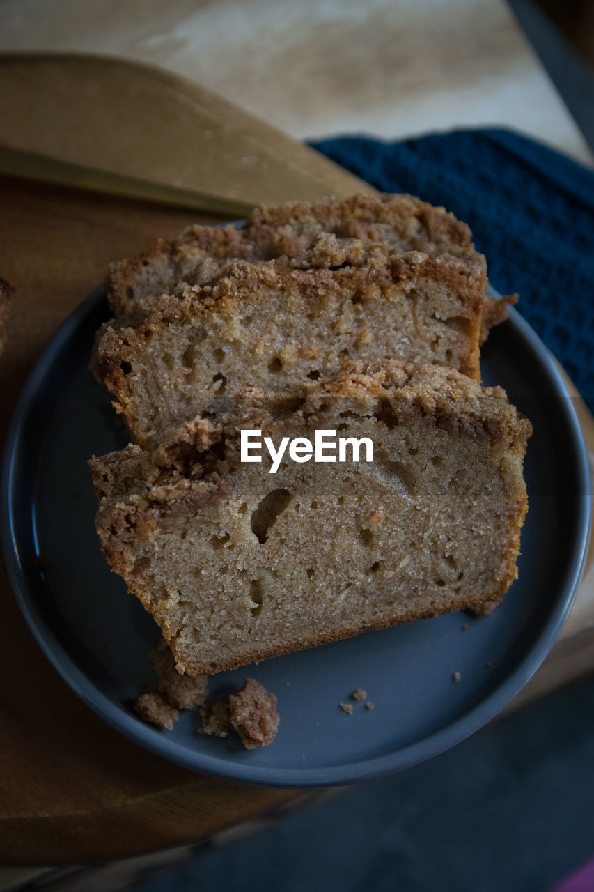 food and drink, food, freshness, indoors, plate, still life, ready-to-eat, close-up, slice, bread, table, no people, indulgence, serving size, sweet food, baked, high angle view, temptation, wellbeing, sweet, breakfast, snack