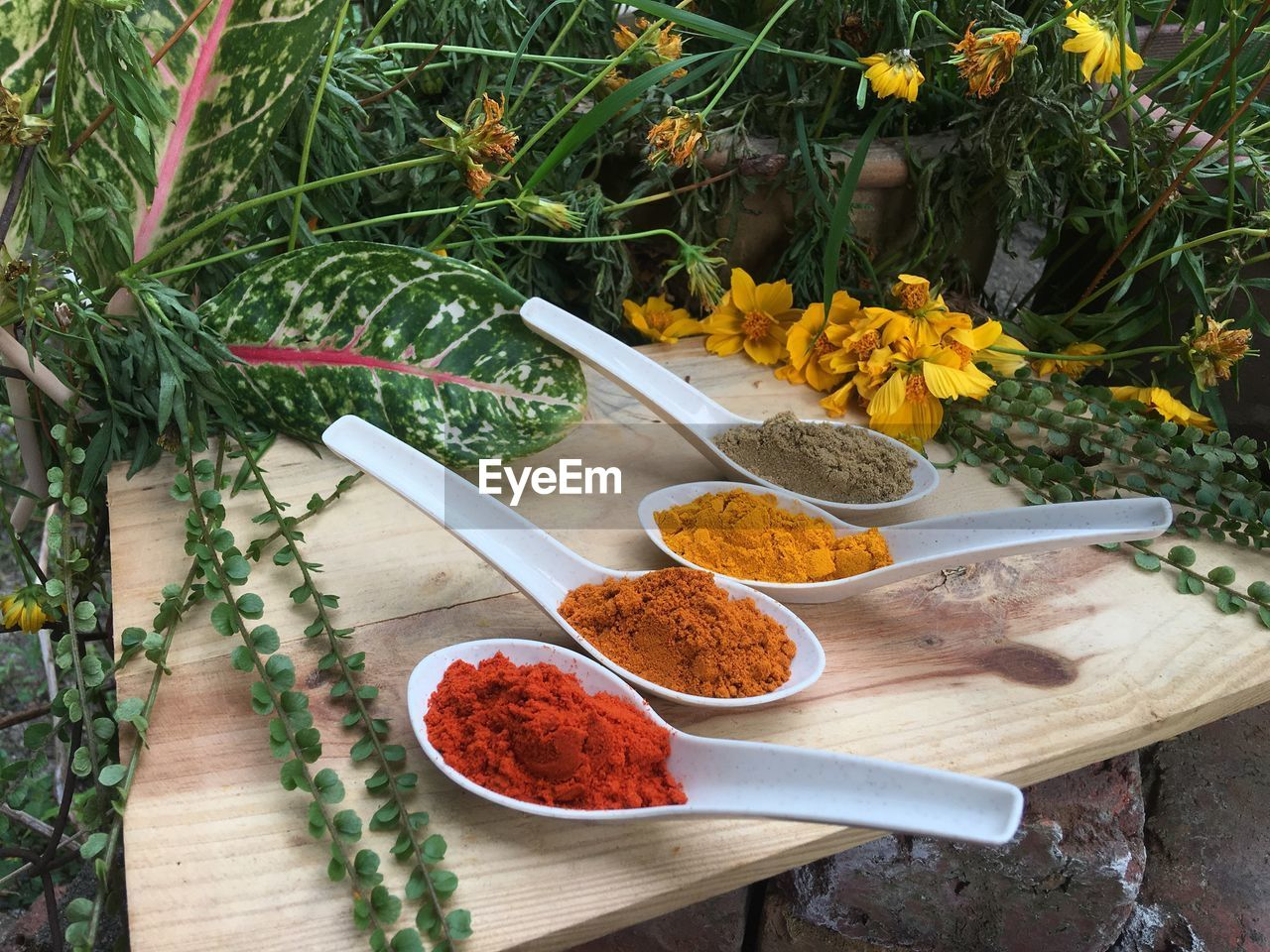 plant, freshness, food, food and drink, spice, spoon, eating utensil, flower, flowering plant, high angle view, no people, table, ingredient, variation, kitchen utensil, choice, wood - material, yellow, green color, chili pepper, herb