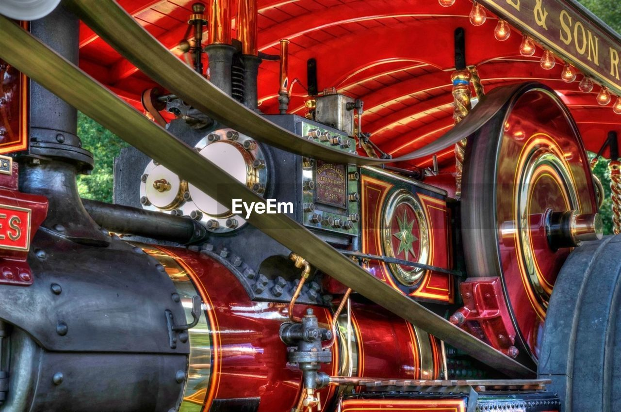 red, day, outdoors, no people, weapon, steam train, locomotive, close-up