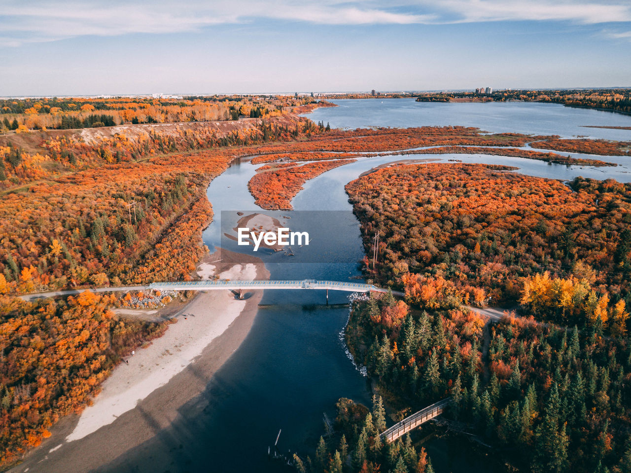 High angle view of river and trees during autumn