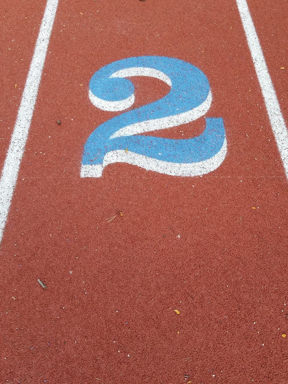 Numbered lane on running track
