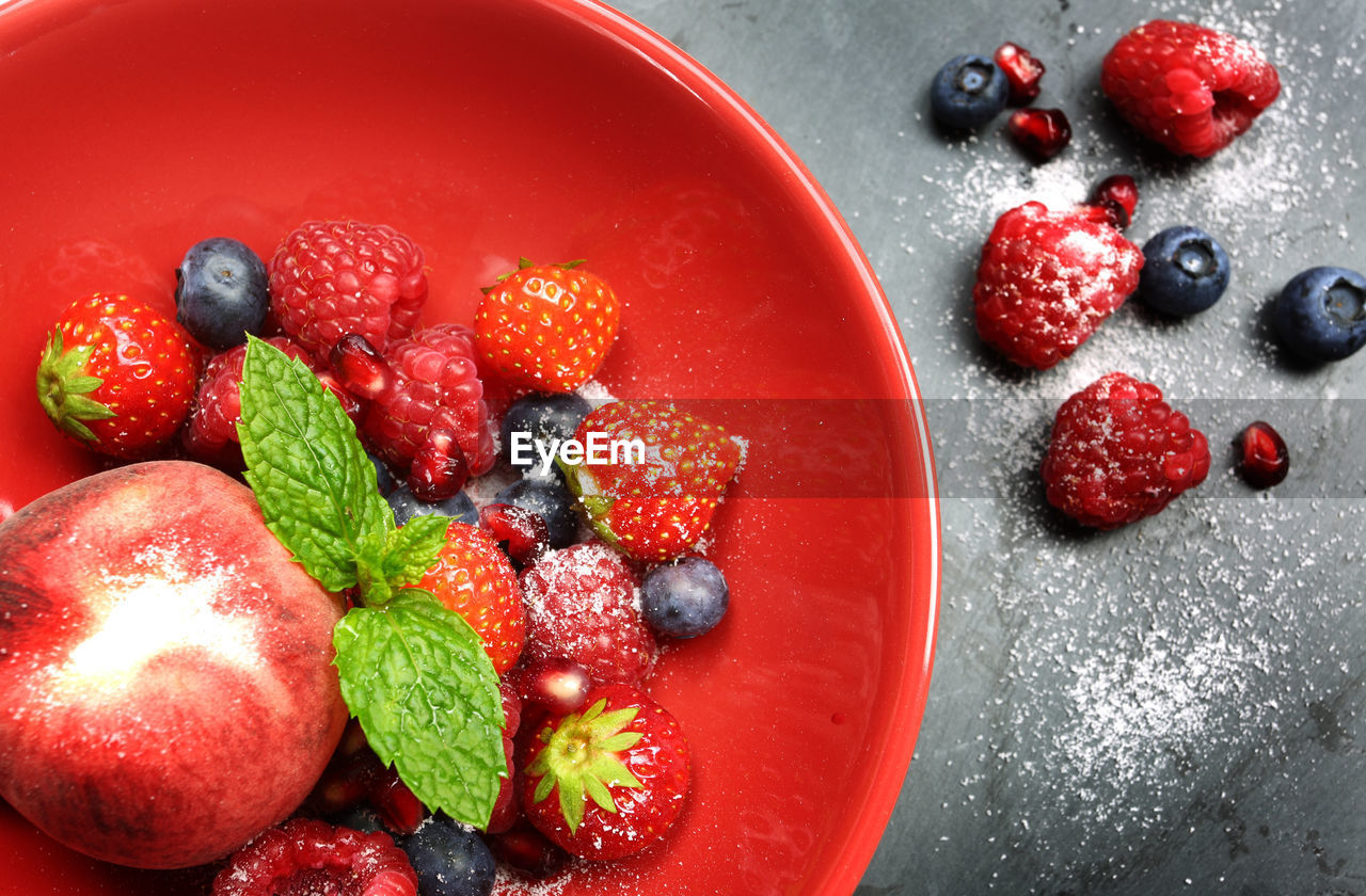HIGH ANGLE VIEW OF RASPBERRIES IN BOWL