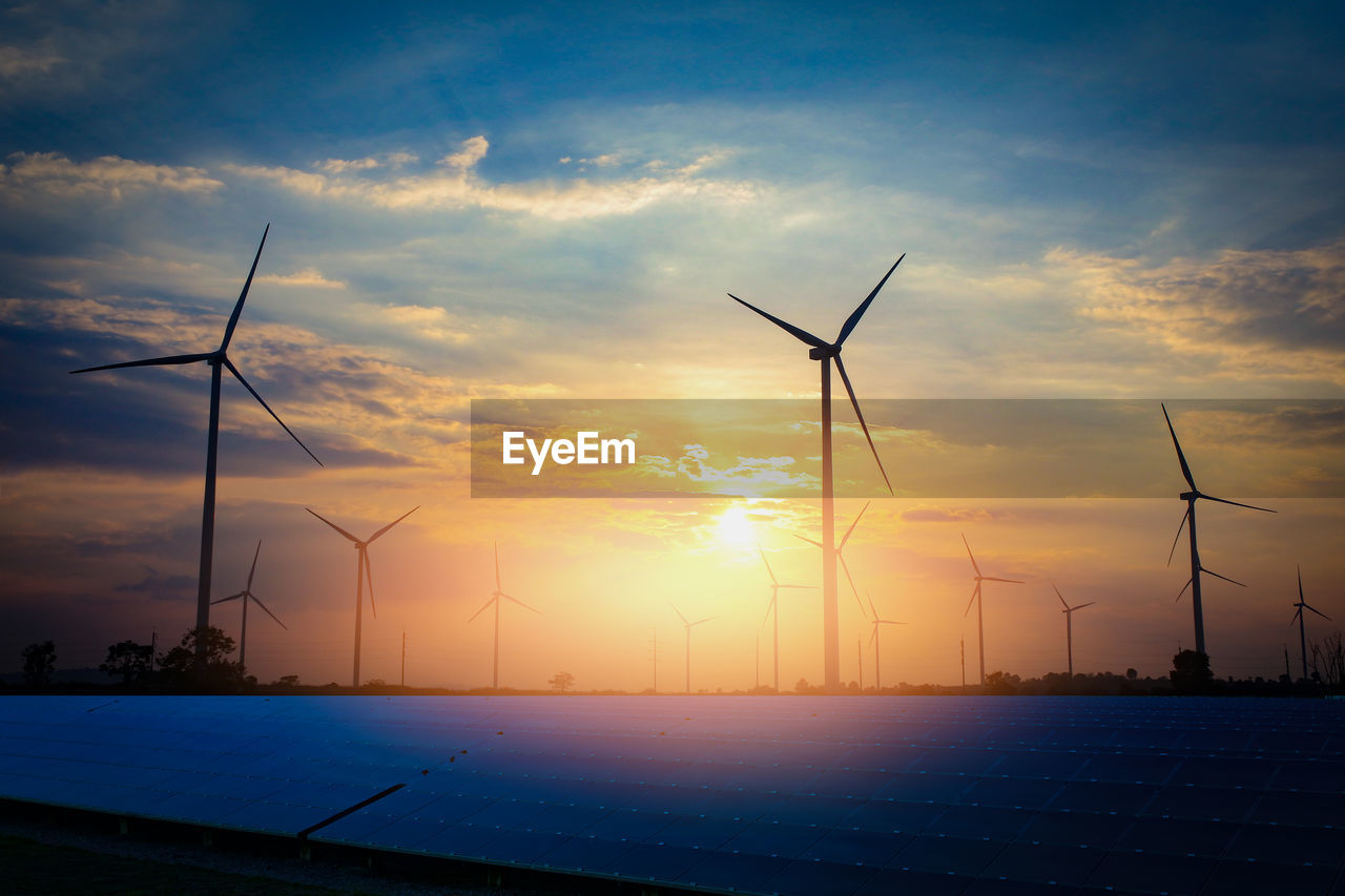 fuel and power generation, alternative energy, environmental conservation, renewable energy, wind turbine, turbine, sky, wind power, environment, sunset, cloud - sky, technology, beauty in nature, nature, landscape, no people, sustainable resources, outdoors, field, rural scene, power supply