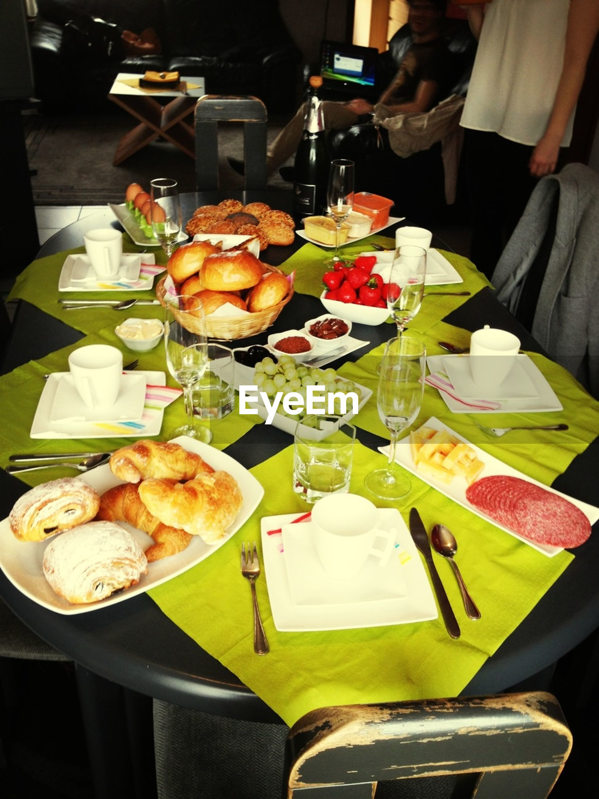 food and drink, indoors, table, food, freshness, plate, restaurant, ready-to-eat, drink, healthy eating, high angle view, still life, meal, variation, dining table, sitting, drinking glass, fork