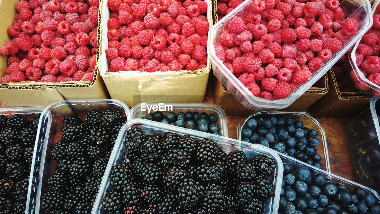 food, food and drink, retail, for sale, market, market stall, healthy eating, large group of objects, abundance, freshness, wellbeing, container, fruit, red, choice, variation, berry fruit, high angle view, sale, no people, order, retail display, ripe