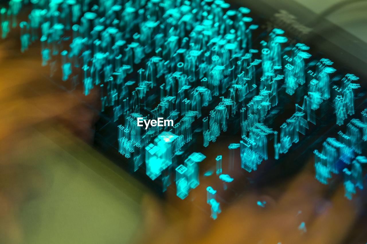 Close-Up Of Illuminated Computer Keyboard