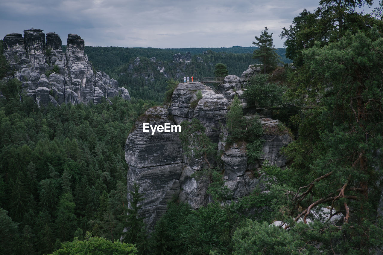 Scenic View Of Rocks In Forest Against Sky