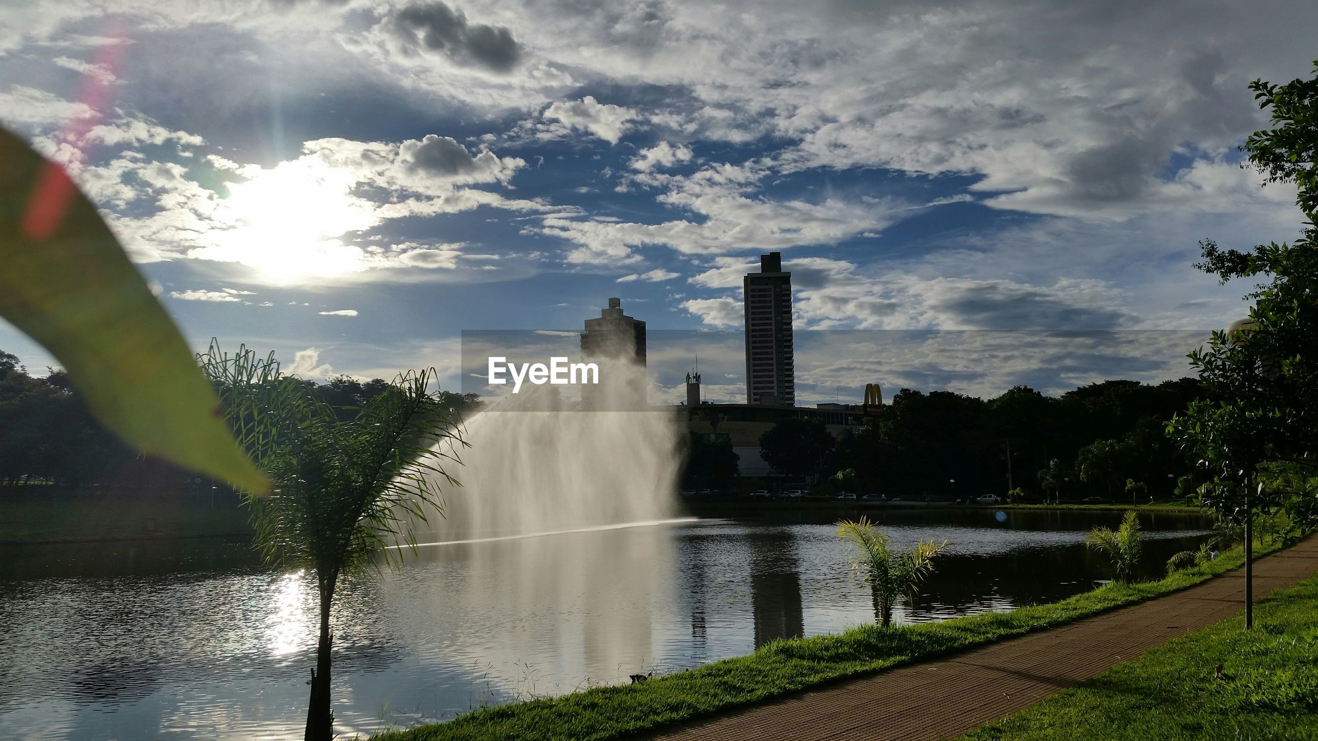 Fountain and water pond in park