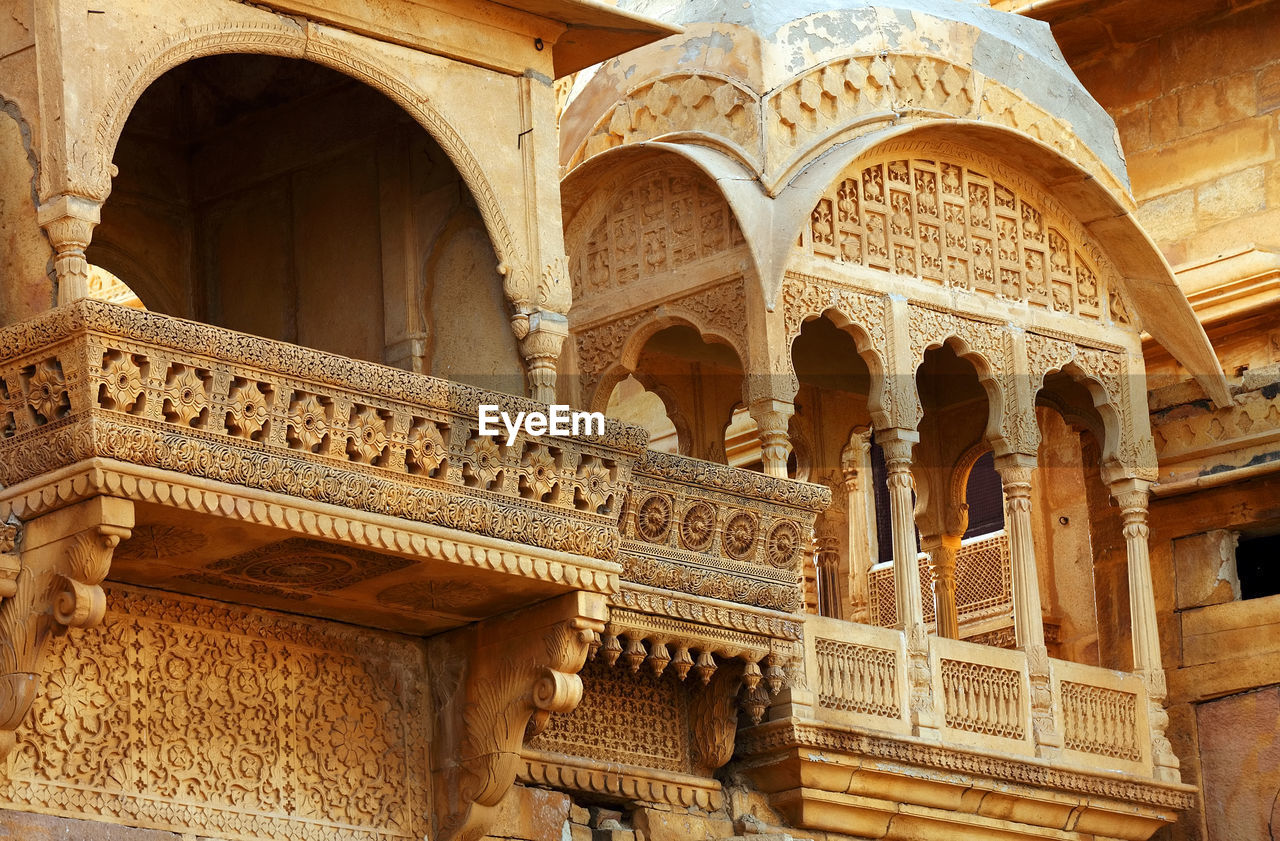 Low Angle View Of Balcony In Jaisalmer Fort