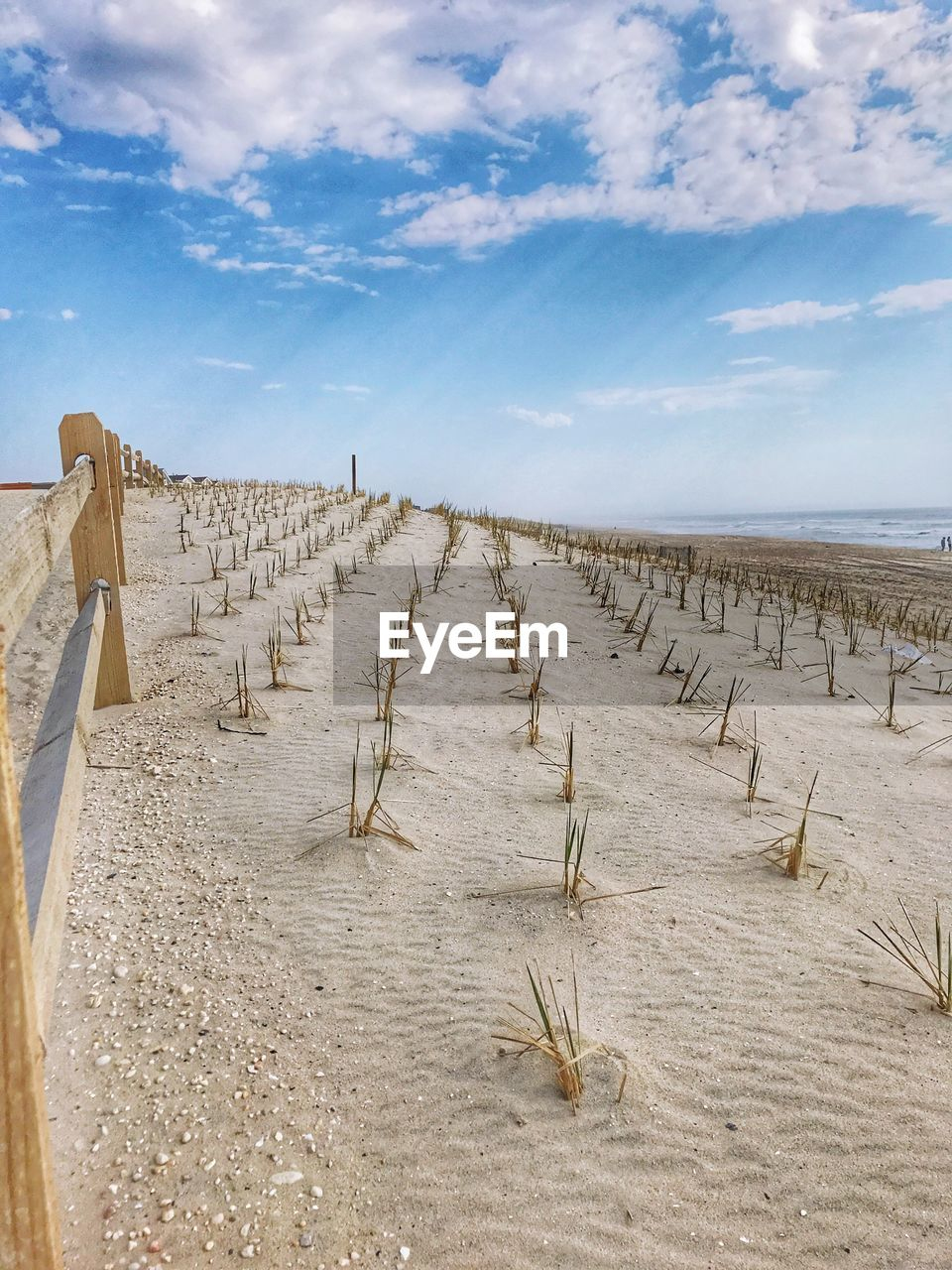sky, cloud - sky, land, scenics - nature, beauty in nature, tranquility, tranquil scene, beach, nature, day, sea, sand, no people, horizon, landscape, water, non-urban scene, horizon over water, outdoors, wooden post, arid climate