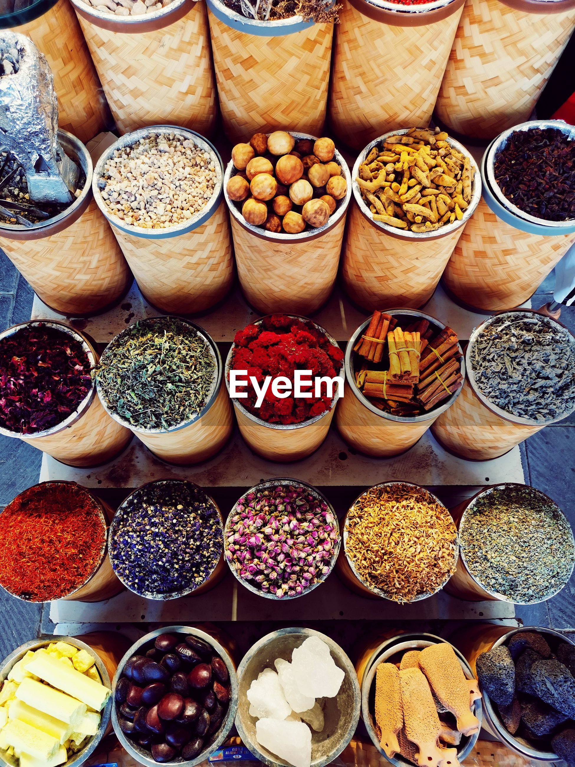 High angle view of dried food for sale at market stall
