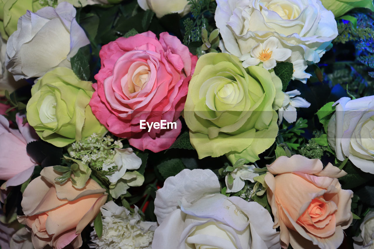 flower, flowering plant, rose, rose - flower, beauty in nature, plant, freshness, flower head, fragility, vulnerability, inflorescence, petal, bouquet, flower arrangement, close-up, multi colored, choice, nature, variation, retail, no people, outdoors, retail display, flower market, bunch of flowers