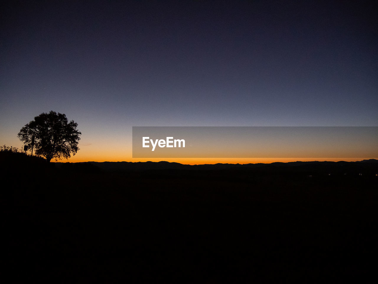 sky, silhouette, copy space, beauty in nature, environment, tranquility, tree, landscape, tranquil scene, scenics - nature, sunset, clear sky, nature, no people, non-urban scene, plant, land, idyllic, outdoors, orange color, dark
