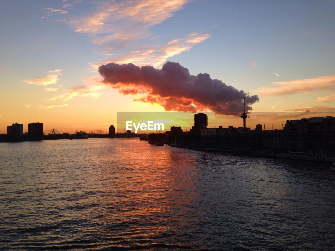 View Of River Against Sky During Sunset