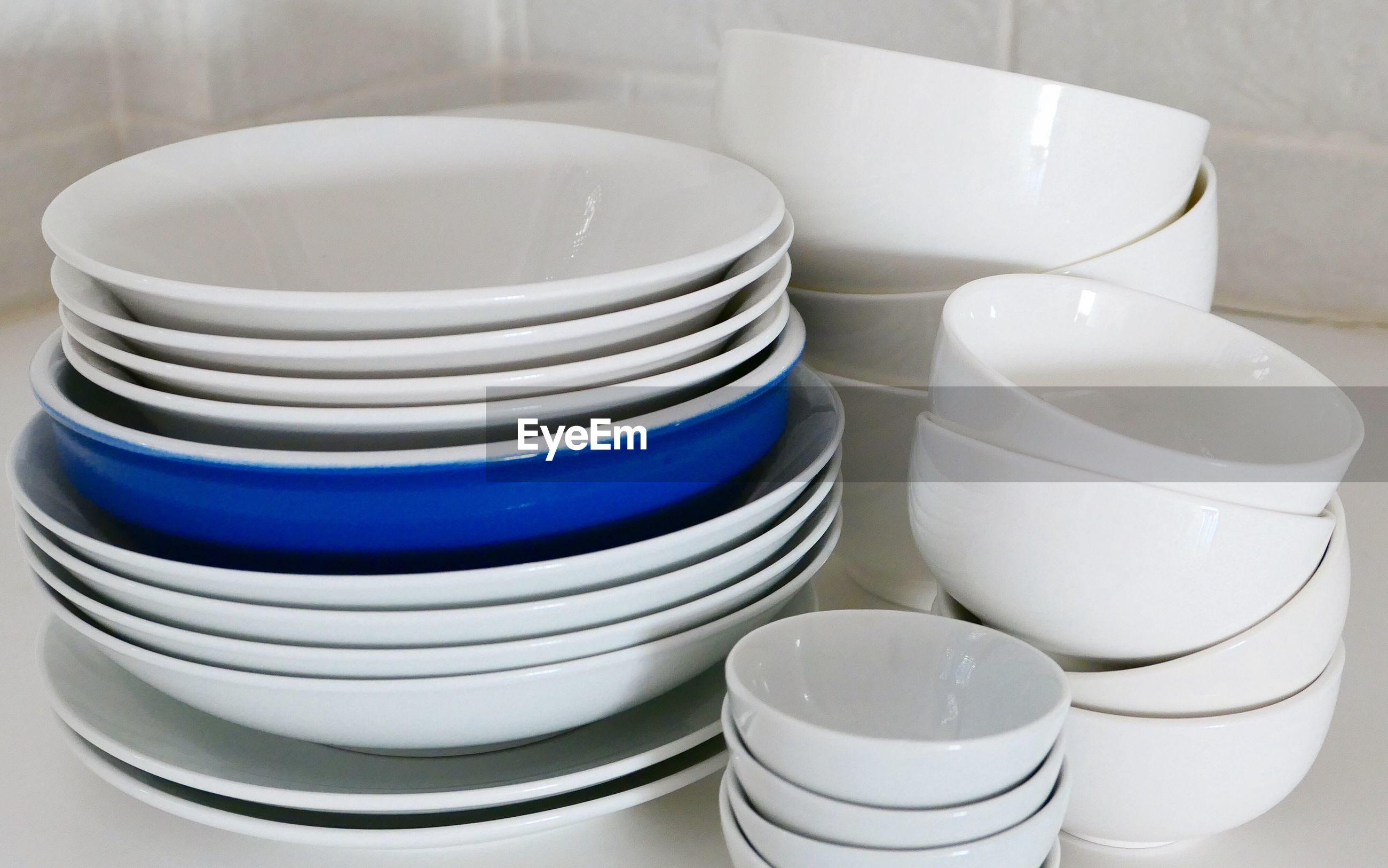 Close-up of empty bowls