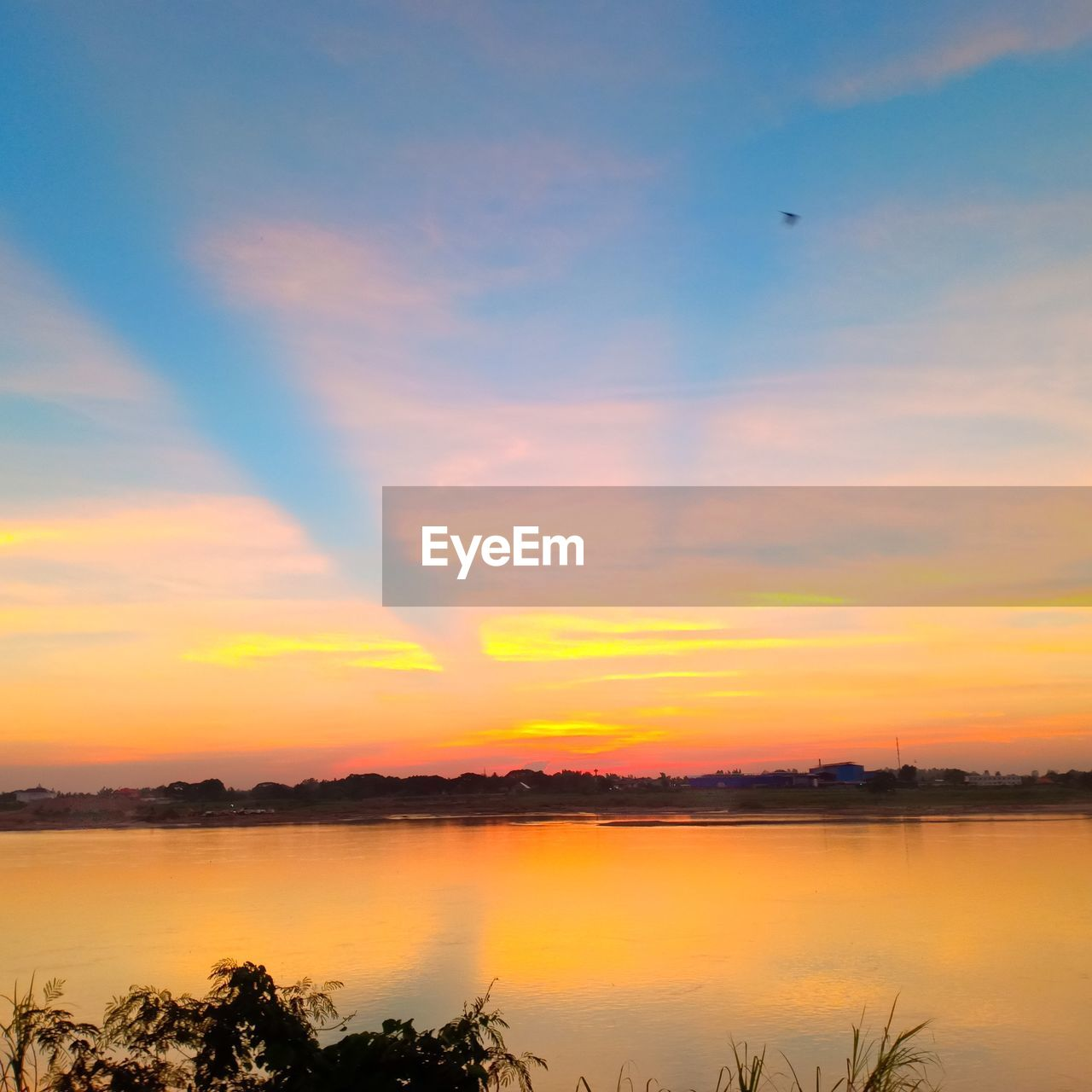sunset, beauty in nature, scenics - nature, sky, tranquility, water, tranquil scene, orange color, cloud - sky, reflection, idyllic, lake, nature, tree, no people, plant, silhouette, non-urban scene, waterfront, outdoors, romantic sky