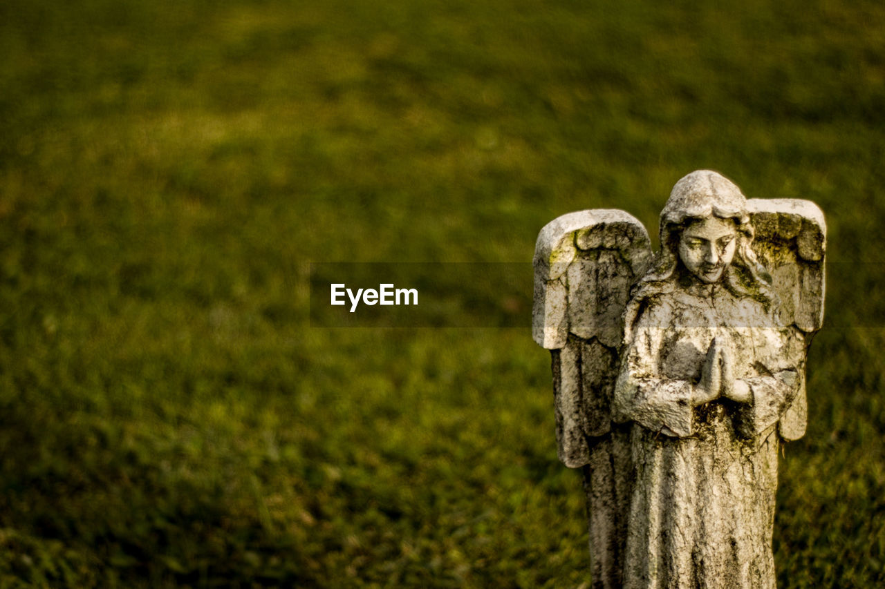 emotion, plant, no people, nature, focus on foreground, sculpture, representation, religion, human representation, statue, art and craft, grave, craft, grass, belief, day, sadness, tree, cemetery