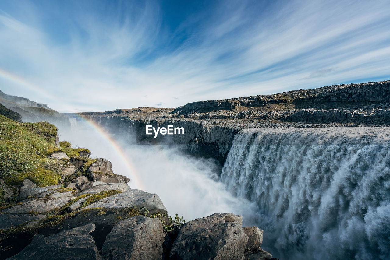 waterfall, motion, water, long exposure, scenics, nature, beauty in nature, sky, rock - object, power in nature, outdoors, cloud - sky, no people, blurred motion, day