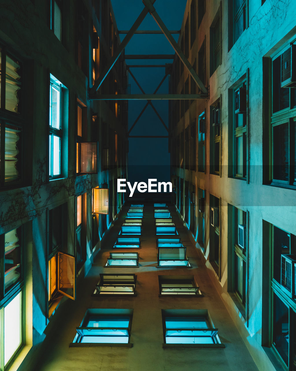 Directly below shot of illuminated building