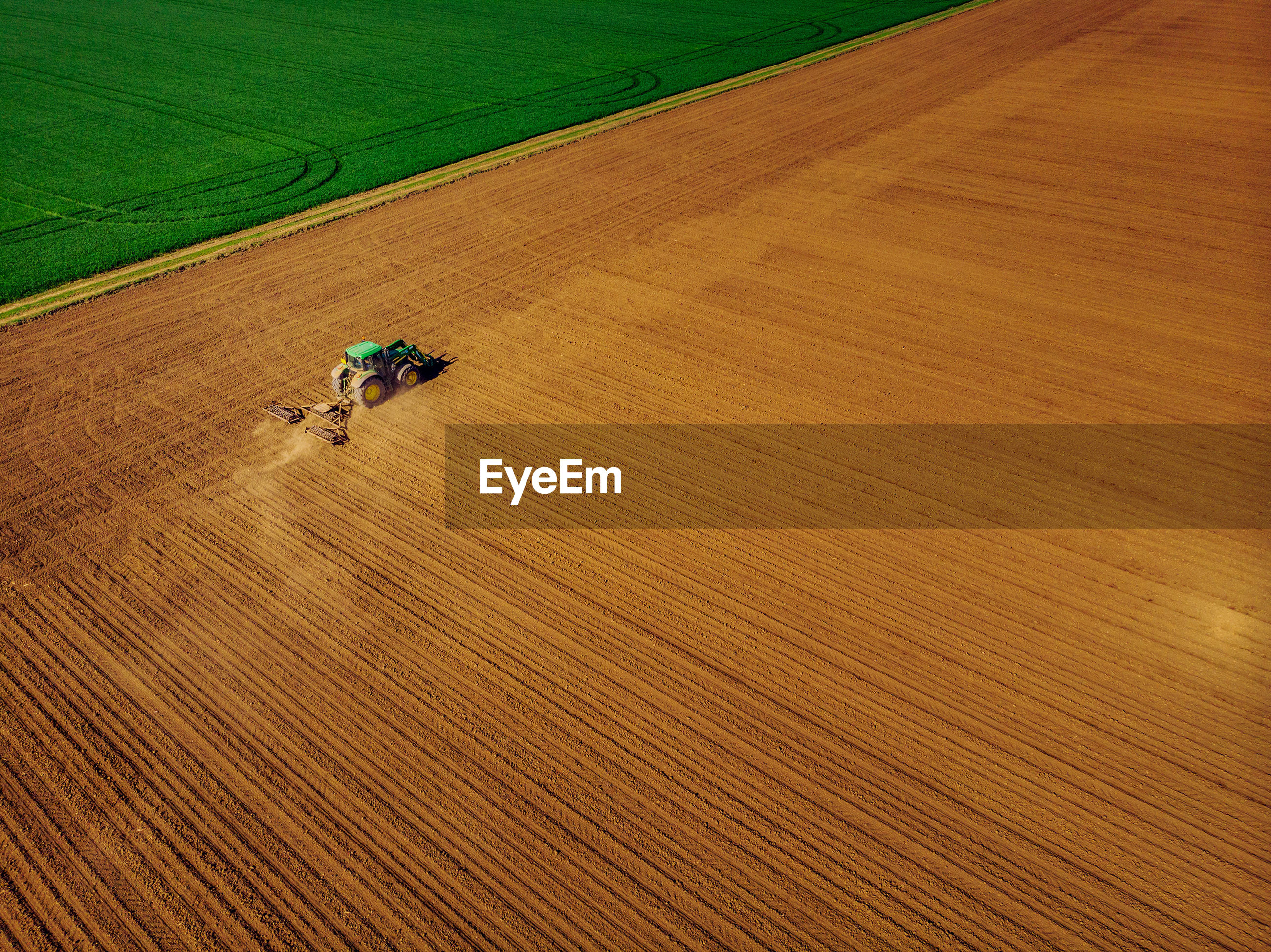 High angle view of tractor in farm