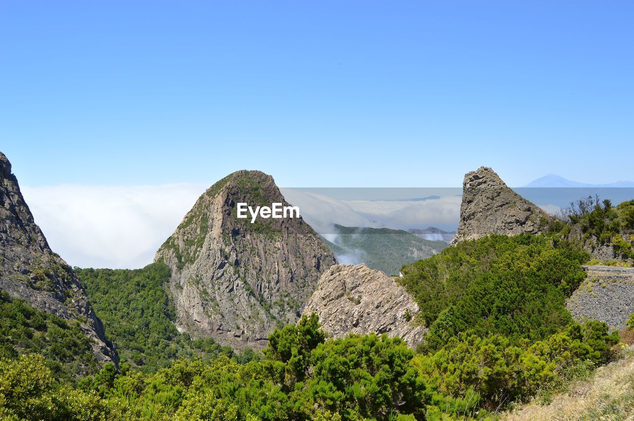 Panoramic View Of Landscape And Mountains Against Clear Blue Sky
