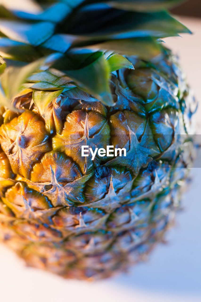 close-up, food, still life, indoors, food and drink, selective focus, no people, wellbeing, healthy eating, table, freshness, pineapple, plant, fruit, high angle view, nature, pattern, blue, tropical fruit, plant part, leaves