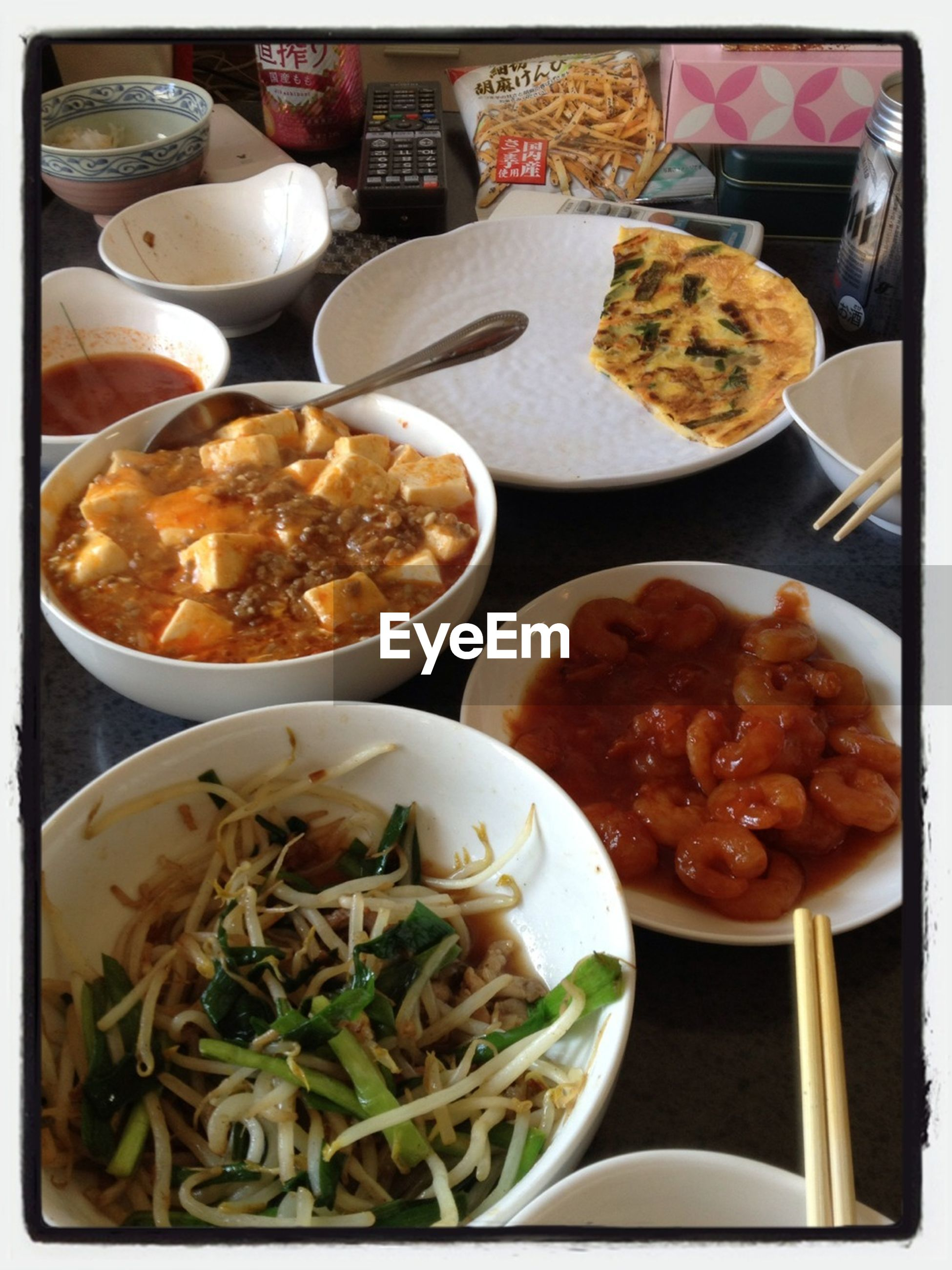 food and drink, food, indoors, freshness, ready-to-eat, healthy eating, still life, table, plate, bowl, meal, serving size, high angle view, close-up, vegetable, spoon, salad, variation, chopsticks, indulgence