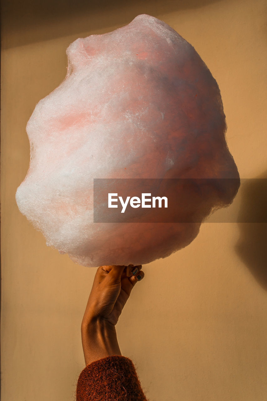 Close-Up Of Hand Holding Cotton Candy