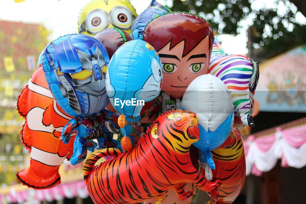 multi colored, creativity, art and craft, outdoors, no people, day, retail, close-up, clown