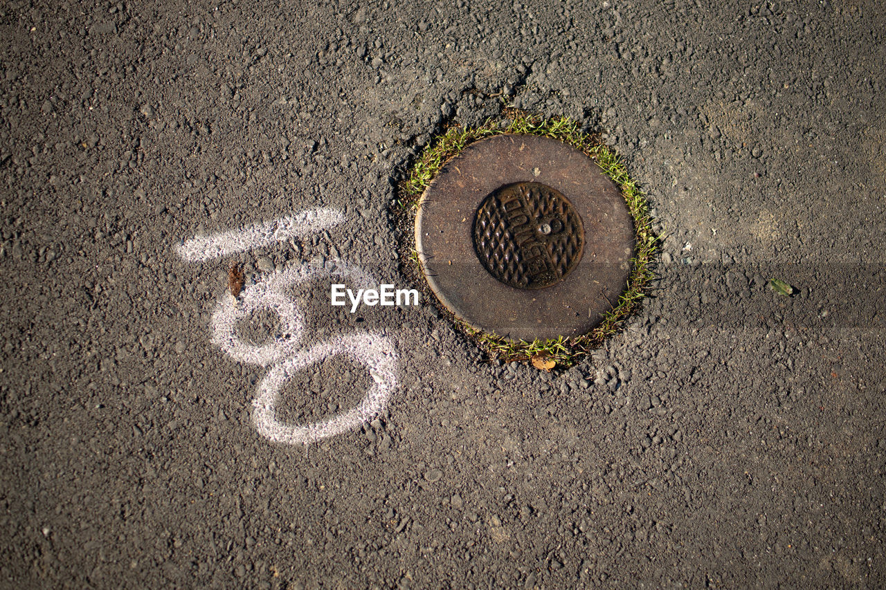 no people, high angle view, circle, geometric shape, street, manhole, shape, directly above, day, road, textured, sewage, close-up, creativity, city, sewer, art and craft, outdoors, transportation, asphalt, concrete