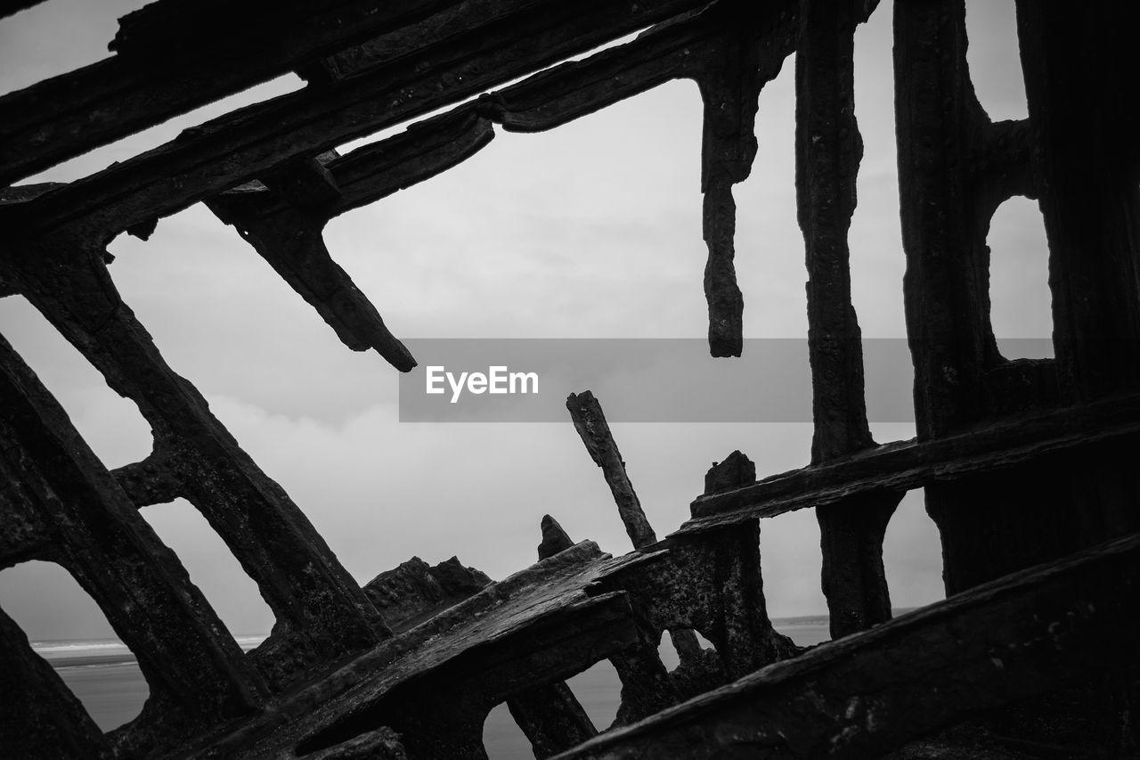Shipwreck against sky