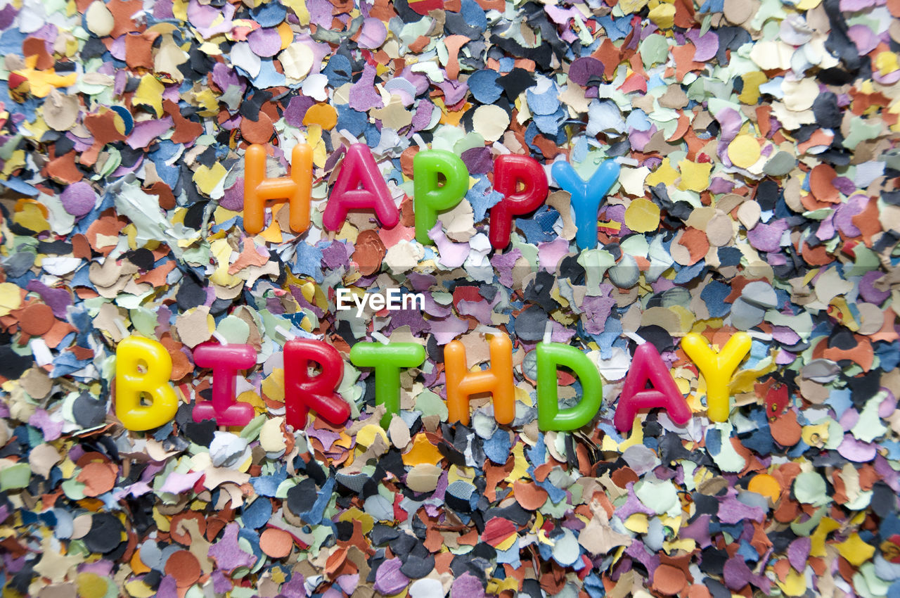 Happy birthday text with colorful decorations