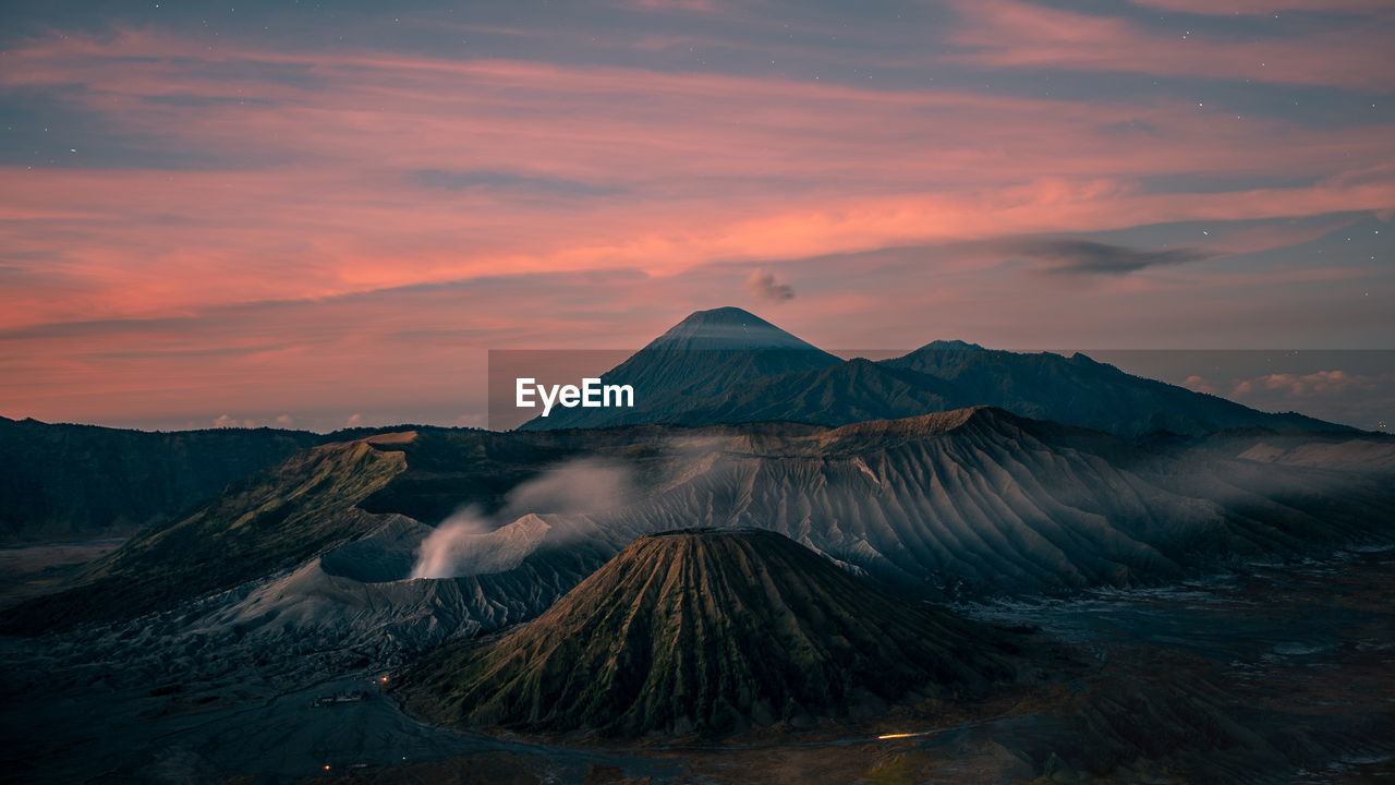 mountain, beauty in nature, scenics - nature, sky, cloud - sky, tranquil scene, tranquility, non-urban scene, sunset, idyllic, no people, volcano, nature, travel destinations, landscape, physical geography, mountain range, environment, geology, travel, volcanic crater, mountain peak, power in nature