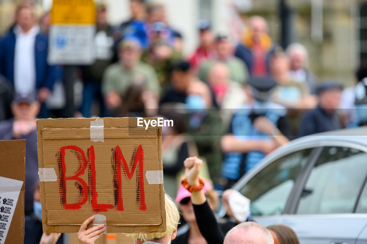 Richmond, north yorkshire, uk - june 14, 2020 homemade black lives matter signs at a blm protest