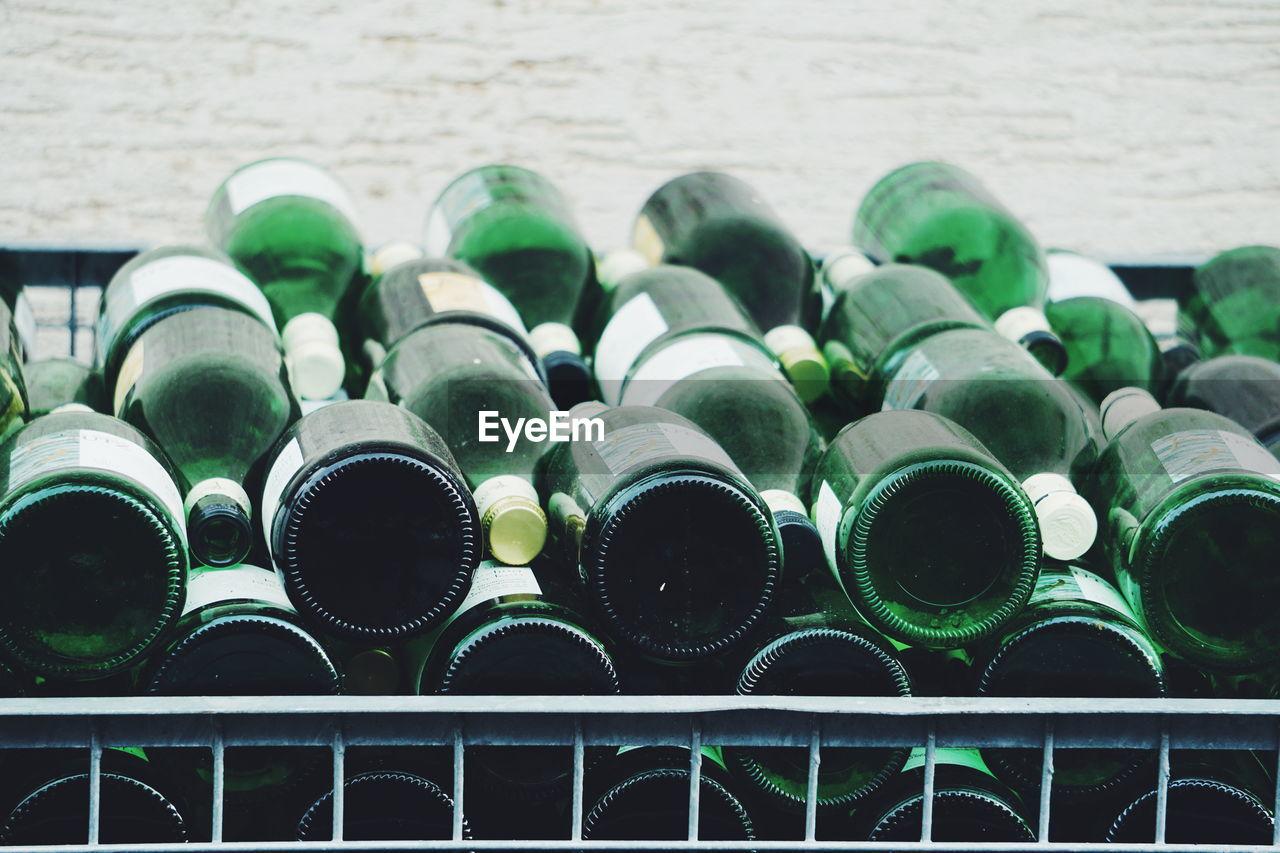 Full frame shot of wine bottles for sale in store