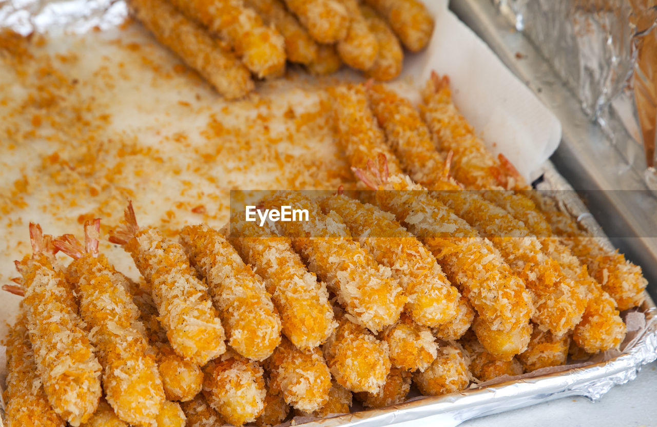 Close-Up Of Fried Shrimp In Tray