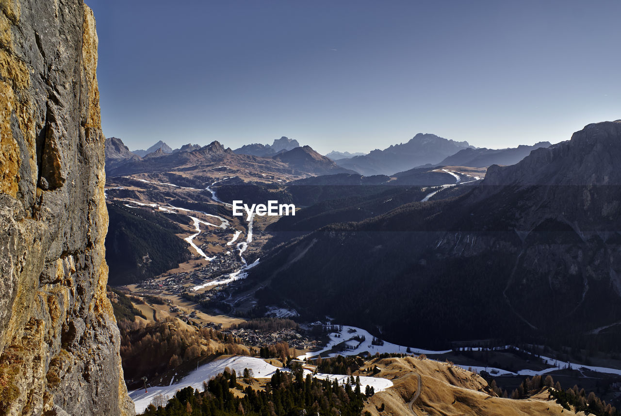 Panoramic View Of Mountains Against Clear Sky