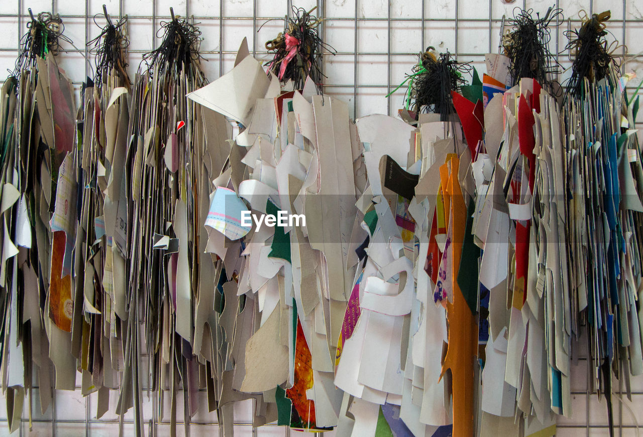 Paper decorations for sale hanging in store