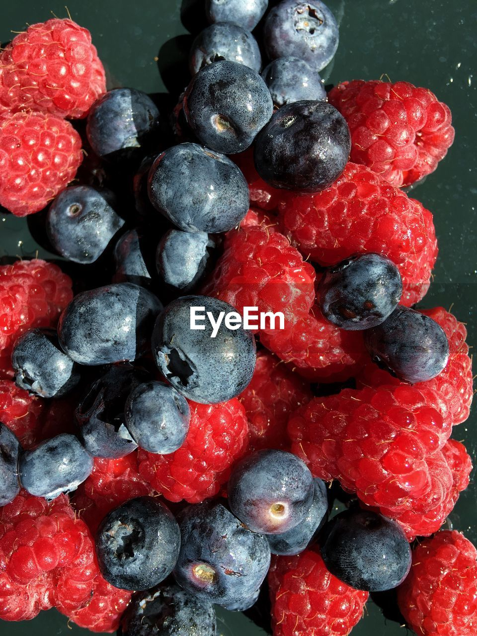 Close-up of blueberries and raspberries