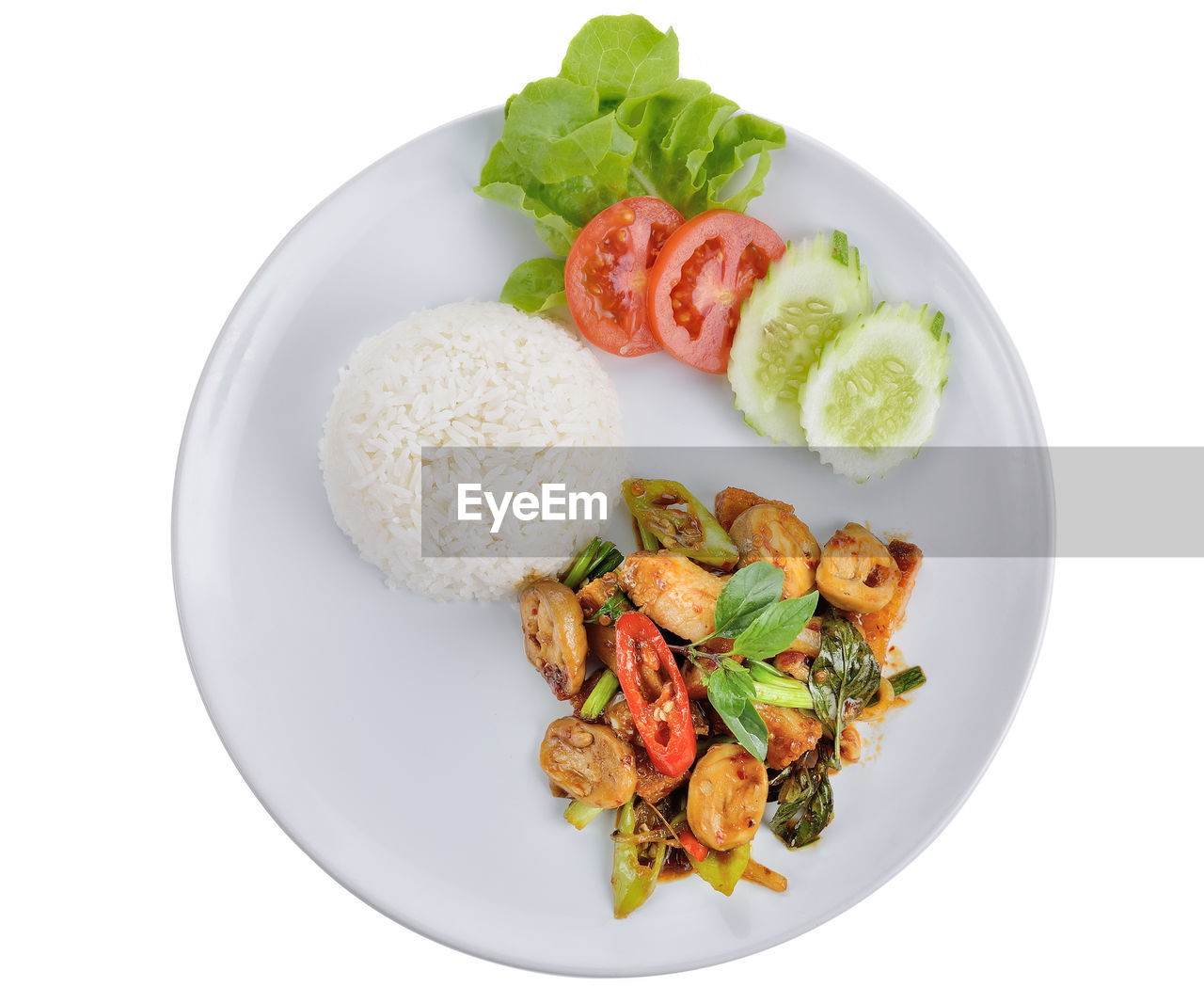 food, food and drink, freshness, ready-to-eat, healthy eating, still life, wellbeing, plate, white background, indoors, studio shot, serving size, vegetable, no people, rice - food staple, fruit, close-up, meat, high angle view, directly above, herb, temptation
