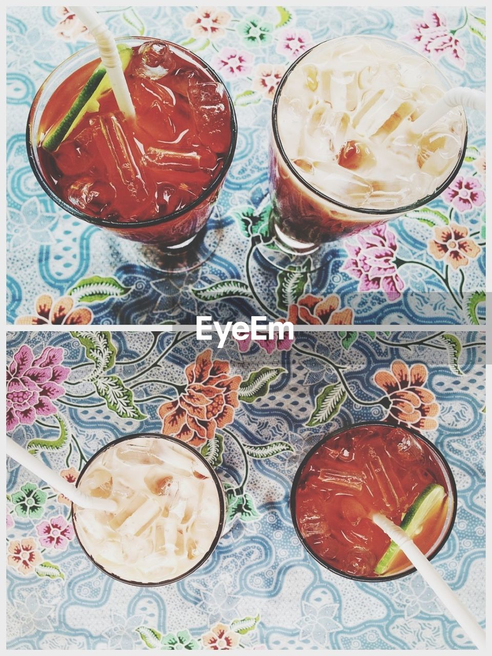 Directly above shot of refreshment drinks on table
