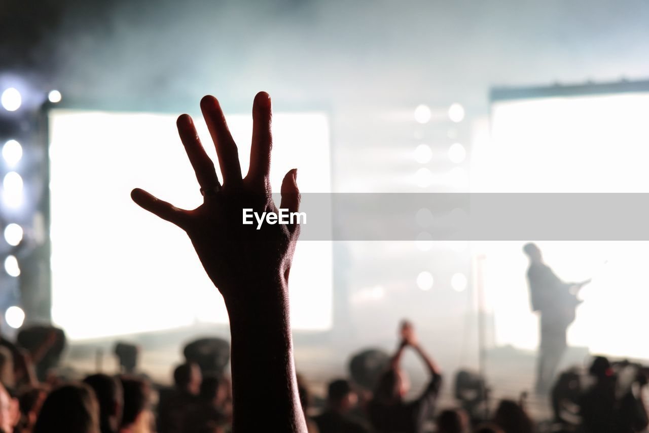 Cropped Image Of Hand Raised In Crowd At Music Concert