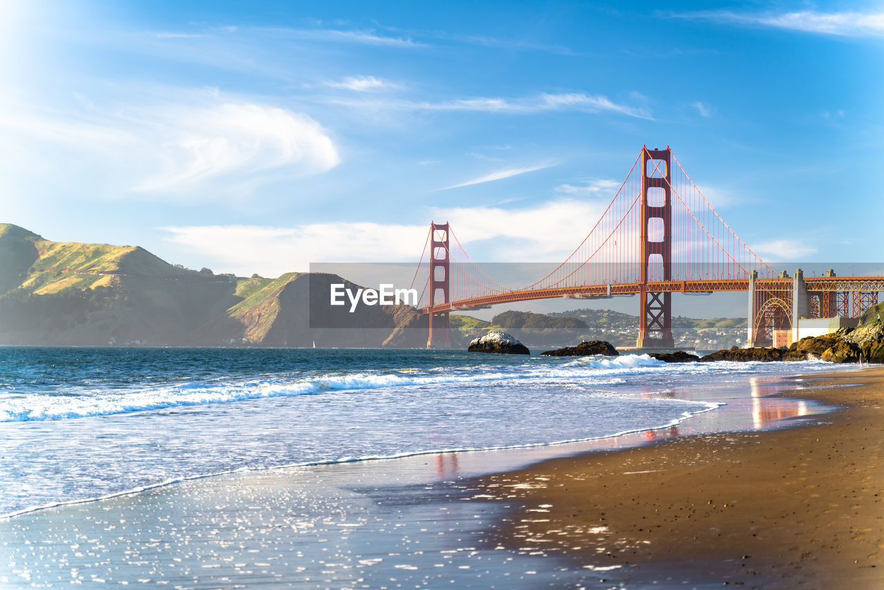 VIEW OF SUSPENSION BRIDGE IN SEA
