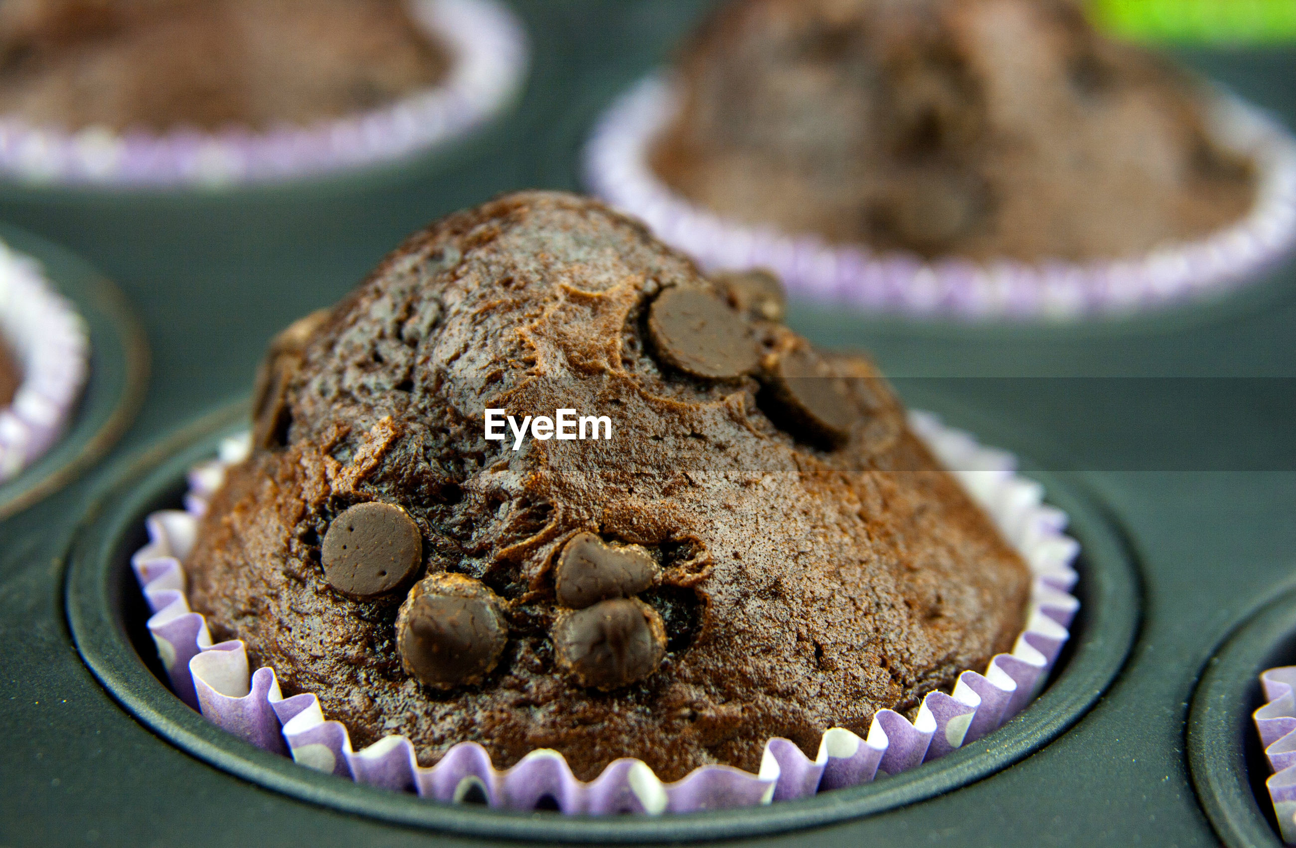 Close-up of chocolate chip muffins in tray