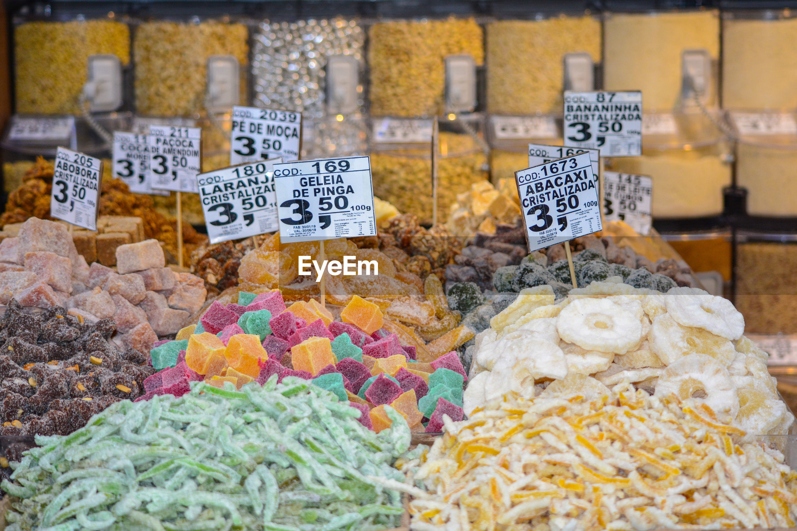 Various candied fruits for sale in store