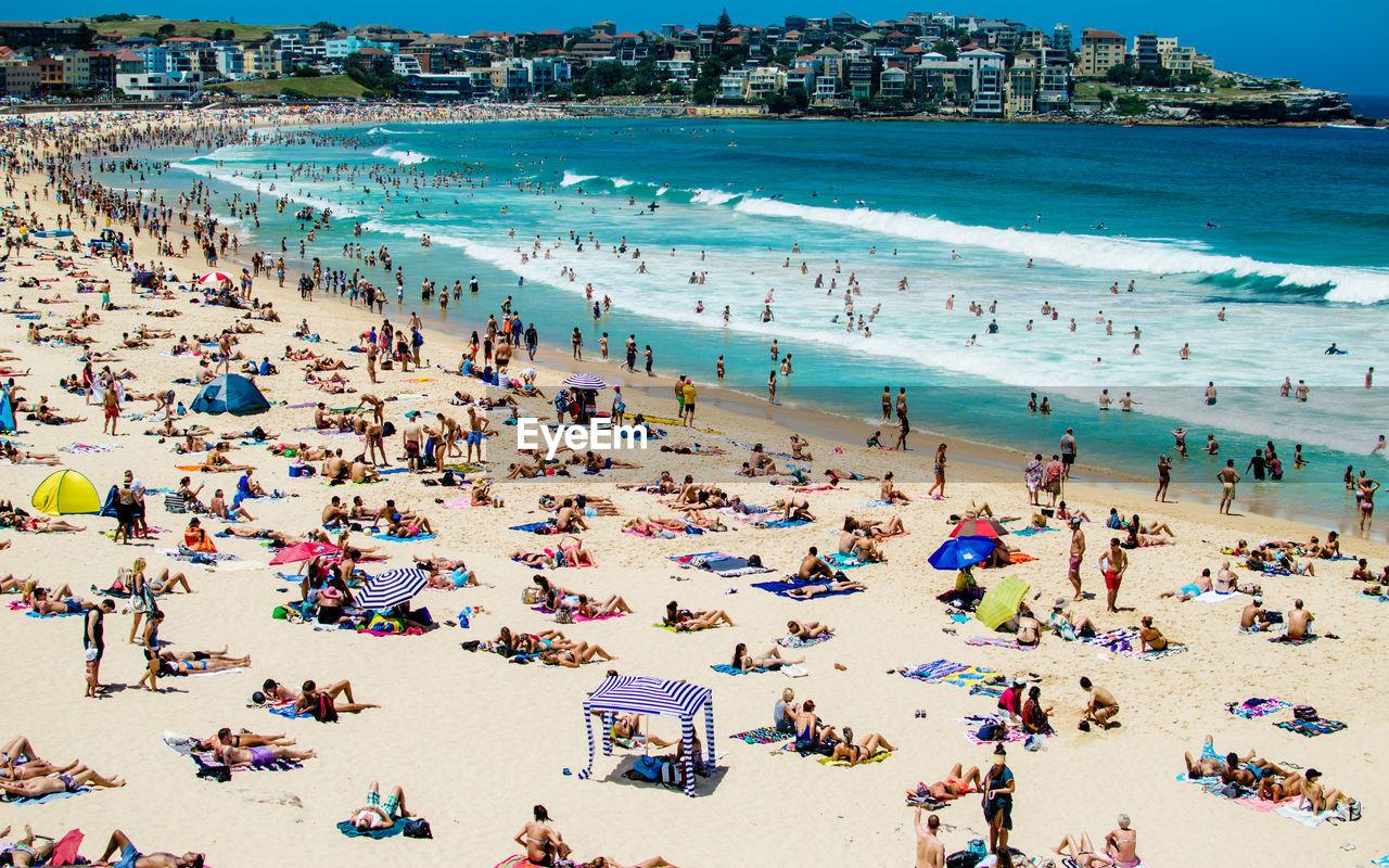 High Angle View Of Crowd On Beach