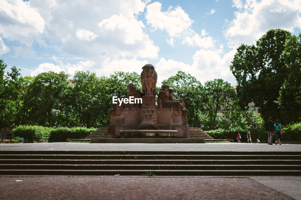 sky, cloud - sky, tree, statue, no people, outdoors, low angle view, day, sculpture