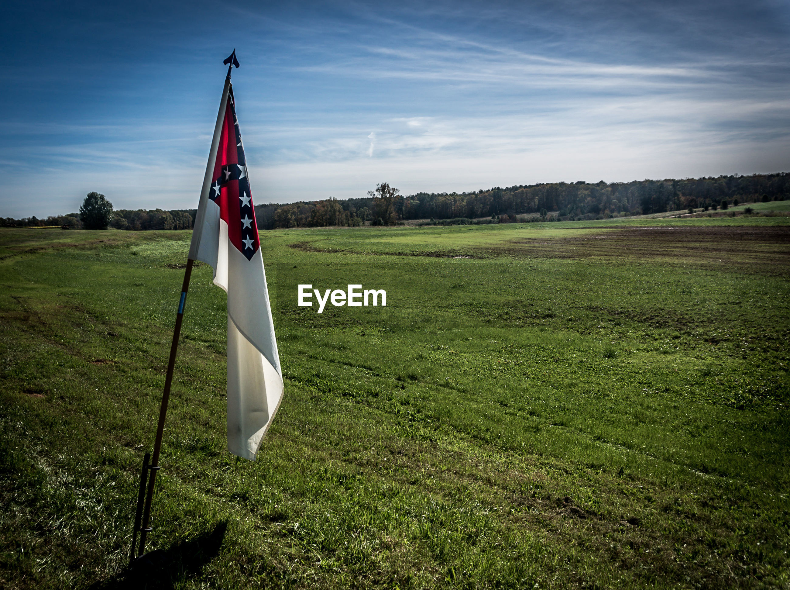 National flag on agricultural field